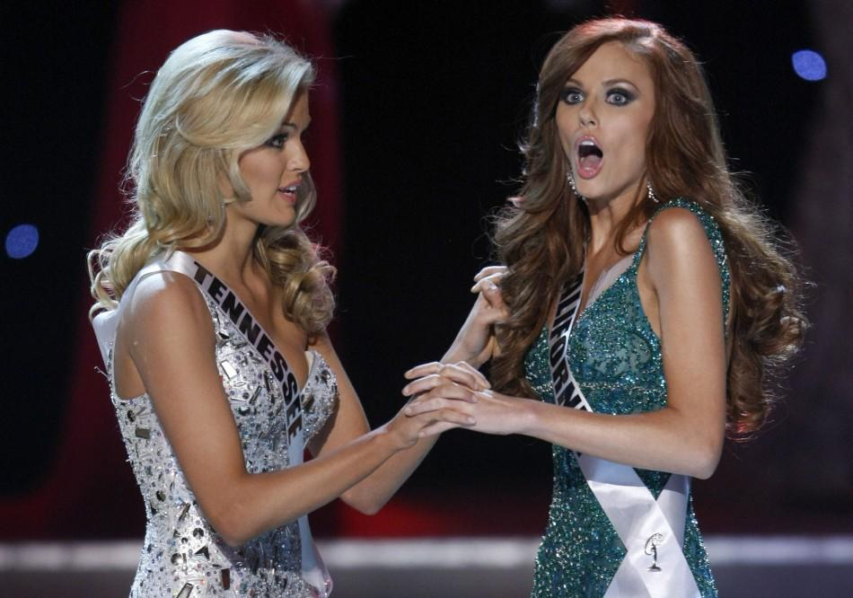 iss California Alyssa Campanella (R) reacts next to first runner-up Miss Tennessee Ashley Elizabeth Durham after being announced Miss USA 2011 during the Miss USA pageant in the Theatre for the Performing Arts at Planet Hollywood Hotel and Casino in Las V