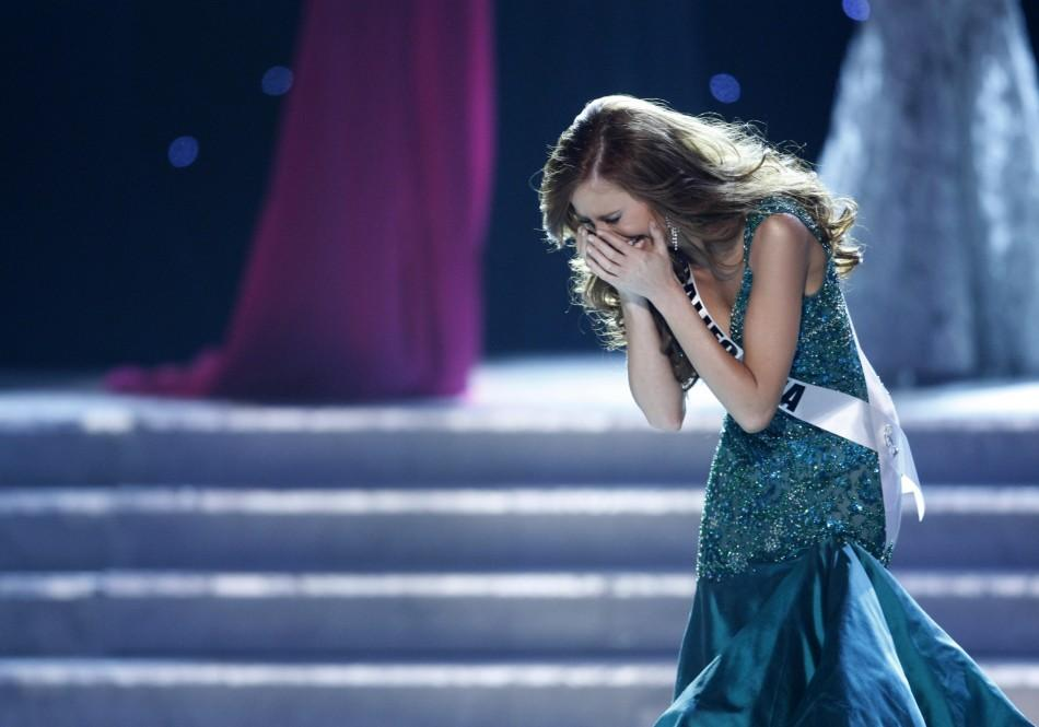 Miss California Alyssa Campanella reacts after being named Miss USA 2011 during the Miss USA pageant in the Theatre for the Performing Arts at Planet Hollywood Hotel and Casino in Las Vegas, Nevada June 19, 2011.