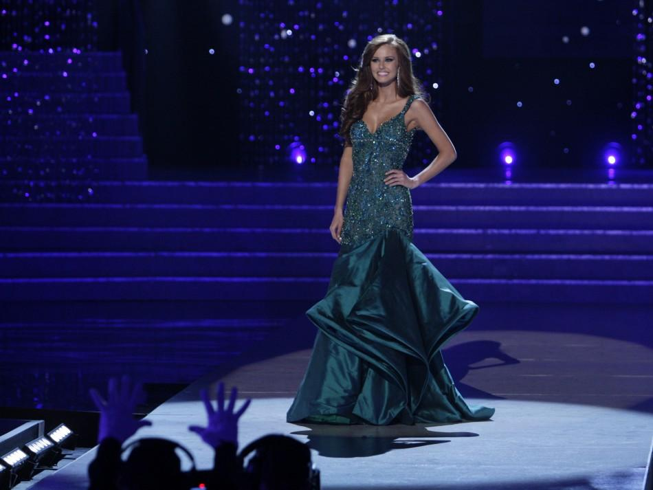 Miss California Alyssa Campanella takes a final walk in her evening gown during the 2011 Miss USA pageant in the Theatre for the Performing Arts at Planet Hollywood Hotel and Casino in Las Vegas, Nevada June 19, 2011.