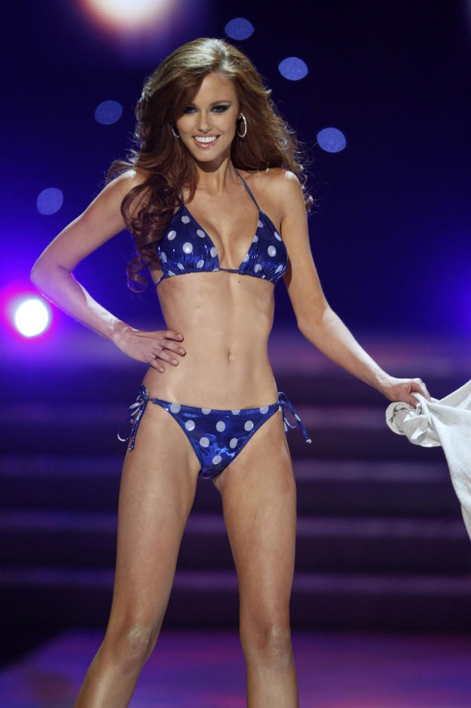 Miss California Alyssa Campanella is shown during the swimsuit competition of the Miss USA pageant in the Theatre for the Performing Arts at Planet Hollywood Hotel and Casino in Las Vegas, Nevada June 19, 2011.