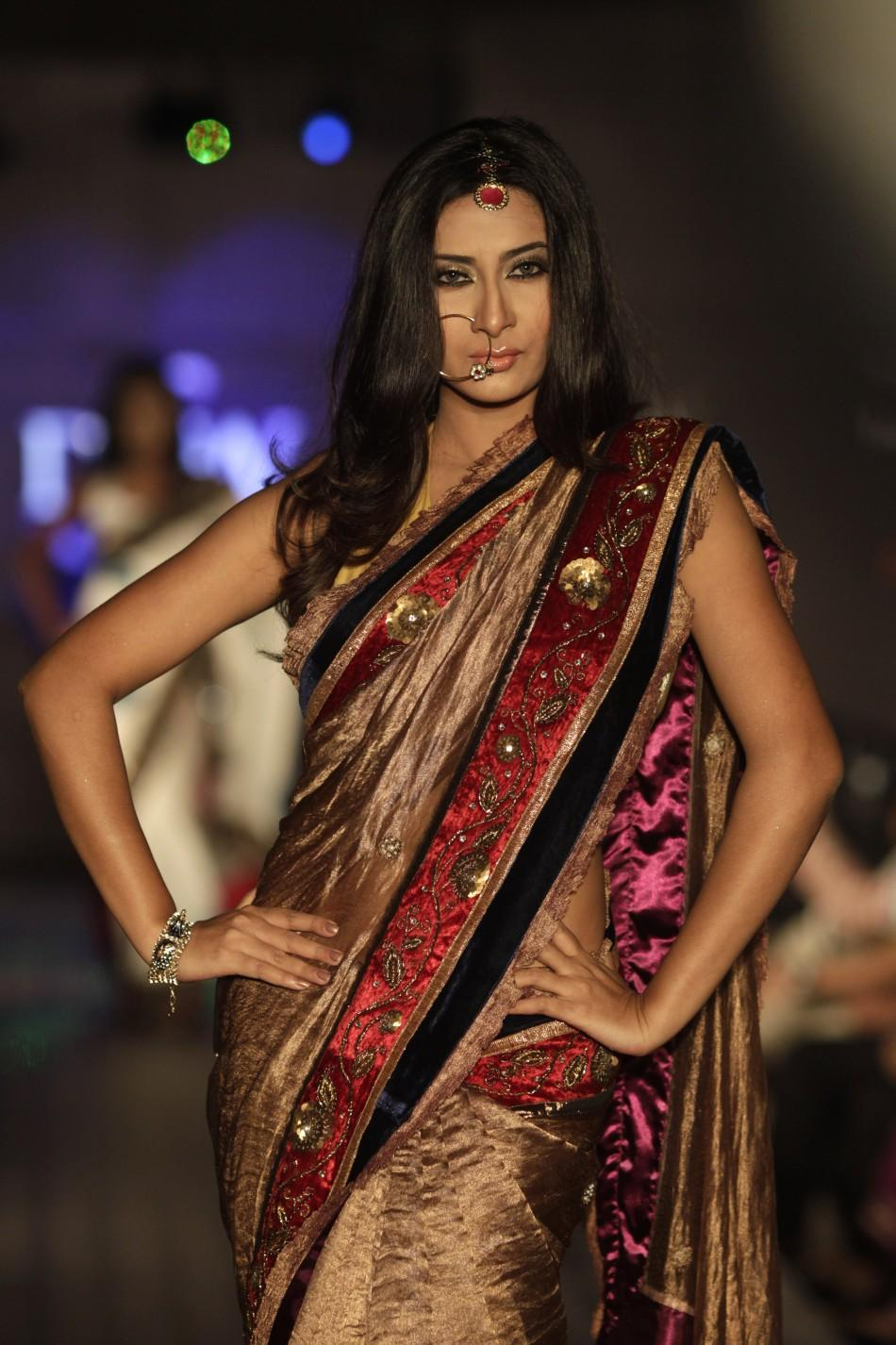 A model showcases a creation by Bangladeshi label Mansha during Dhaka Fashion Week