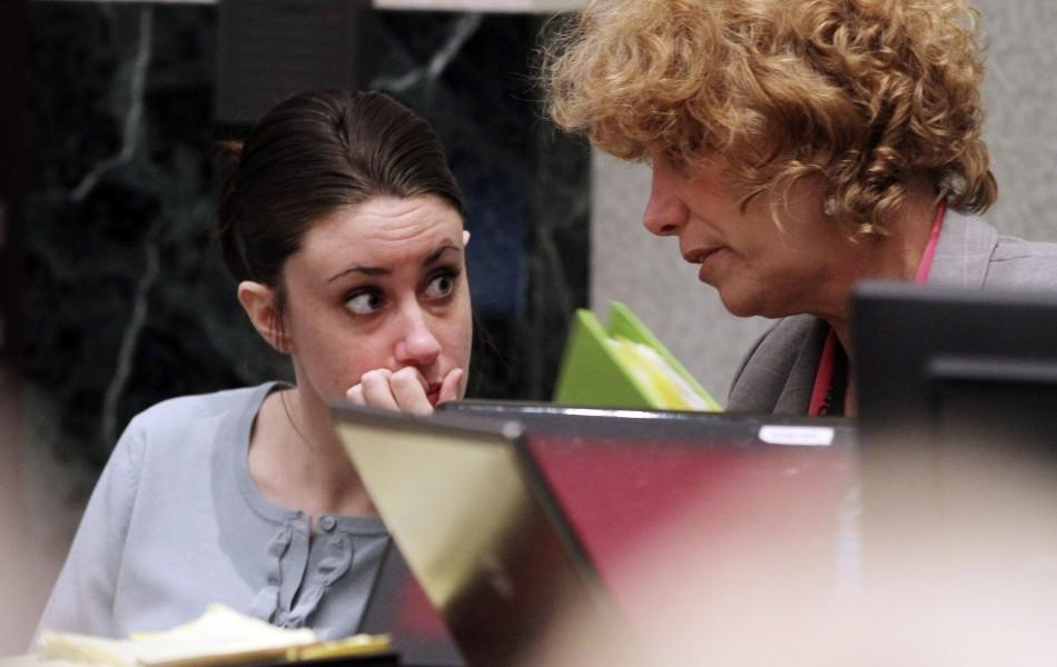 Casey Anthony and her attorney Dorothy Sims Clay talk during a recess at her murder trial at the Orange County Courthouse in Orlando