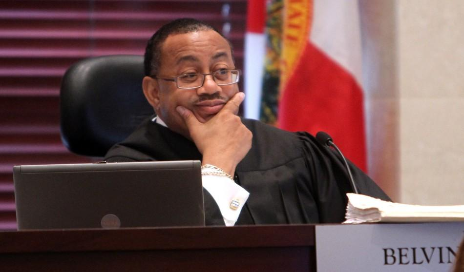 Chief judge Belvin Perry listens to a motion for acquittal from the defense during day 19 of Casey Anthony's 1st -degree murder trial in Florida