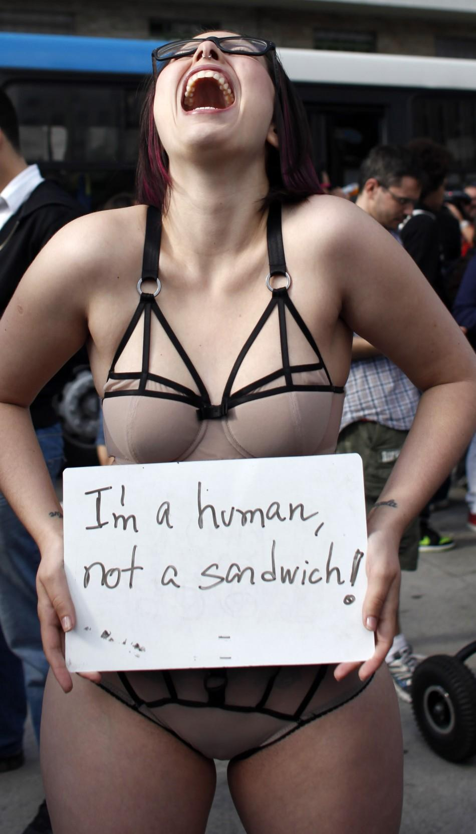 "Woman takes part in the ""Marcha das Vagabundas"" (Slutwalk) protest in Sao Paulo"