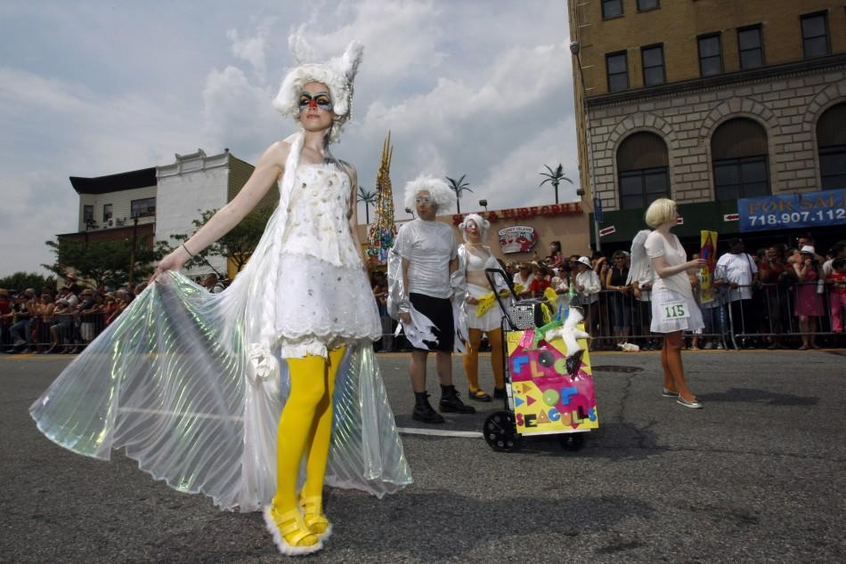 Nicole Smith marches during the Mermaid Parade at Coney Island in the Brooklyn section of New York