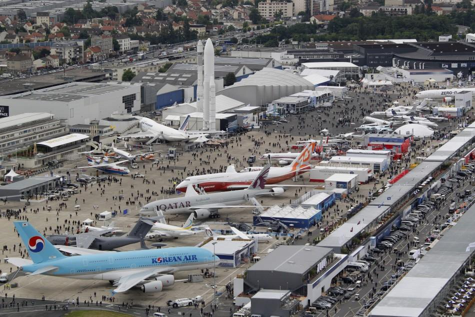 An aerial view of the 49th Paris Air Show at Le Bourget airport