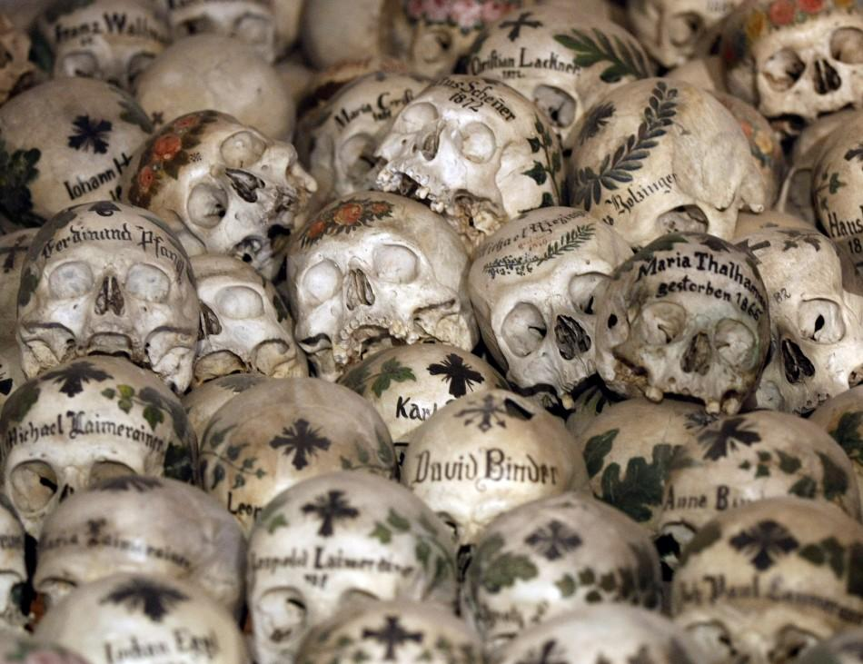 Skulls are pictured at a charnel house in the Austrian world heritage village of Hallstatt