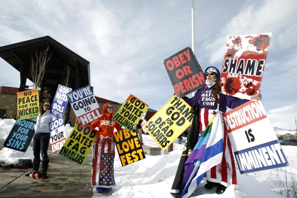 "Members from the Westboro Baptist Church protest the upcoming premiere of ""Red State"""