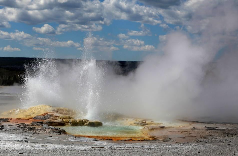 The nearly constantly erupting Clepsydra Geyser in the Fountain Paint Pot area in Yellowstone National Park, Wyoming