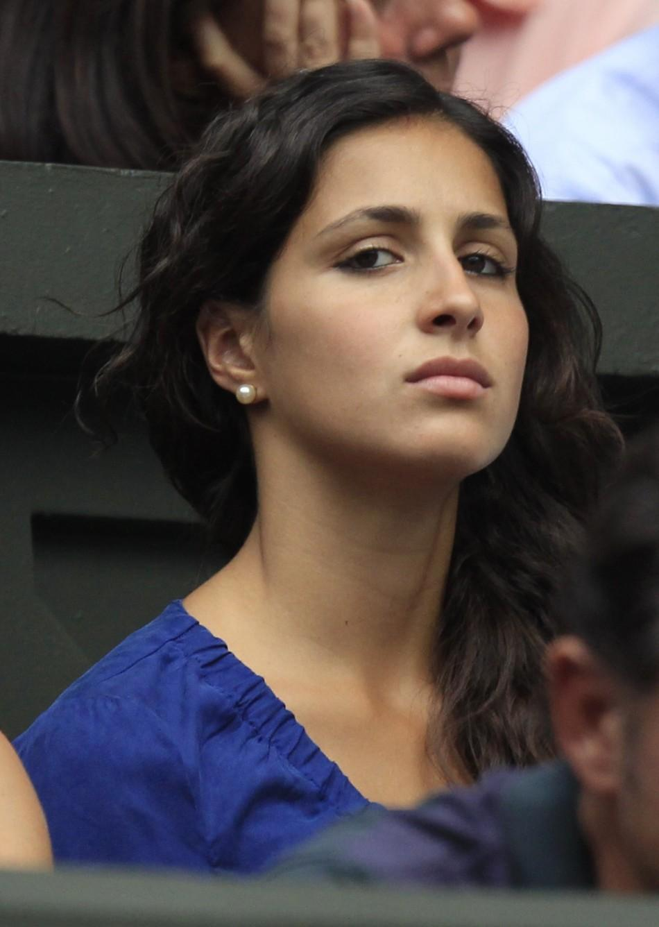 Maria Francisca Perello, the girlfriend of Rafael Nadal of Spain, sits on Centre Court for Nadal's match against Juan Martin Del Potro of Argentina at the Wimbledon tennis championships in London