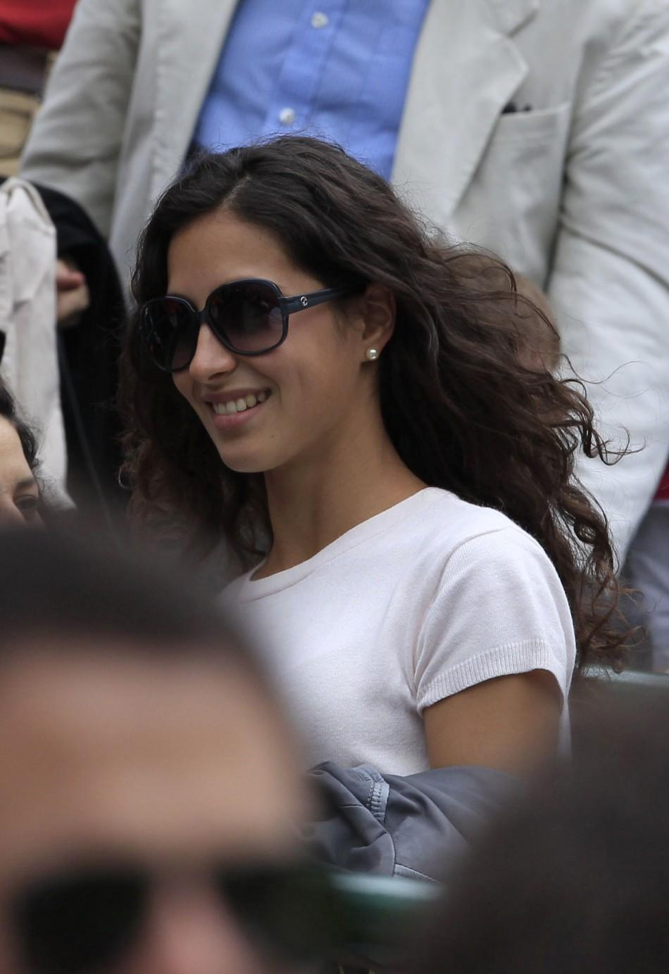 Maria Francisca Perello, the girlfriend of Rafael Nadal of Spain, leaves Court 1 after Nadal's match against Gilles Muller of Luxembourg at the Wimbledon tennis championships in London