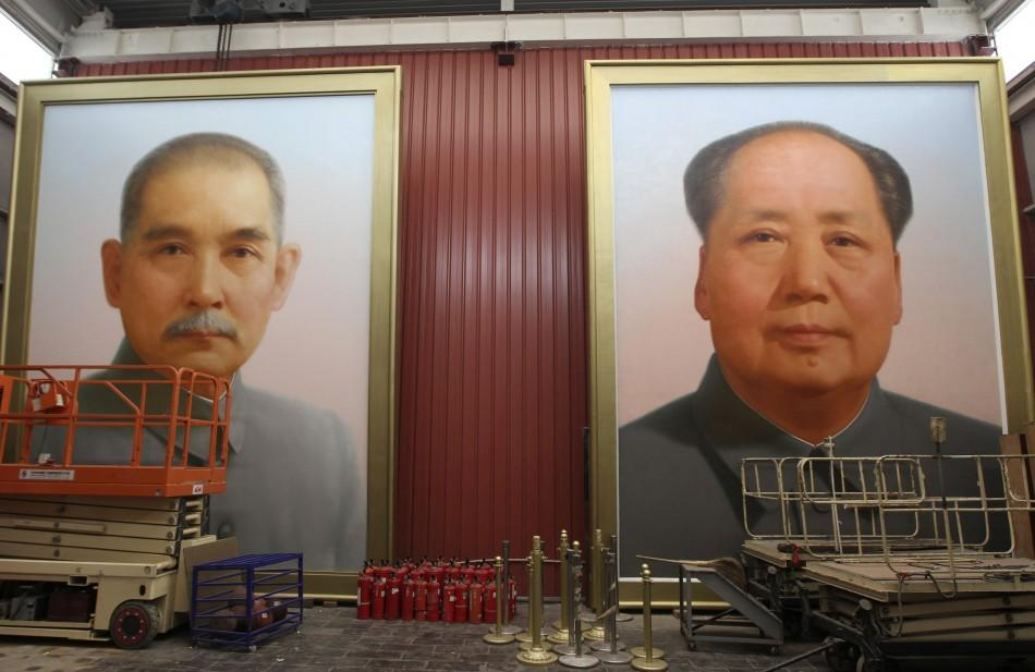 Giant portraits of China's late Chairman Mao Zedong
