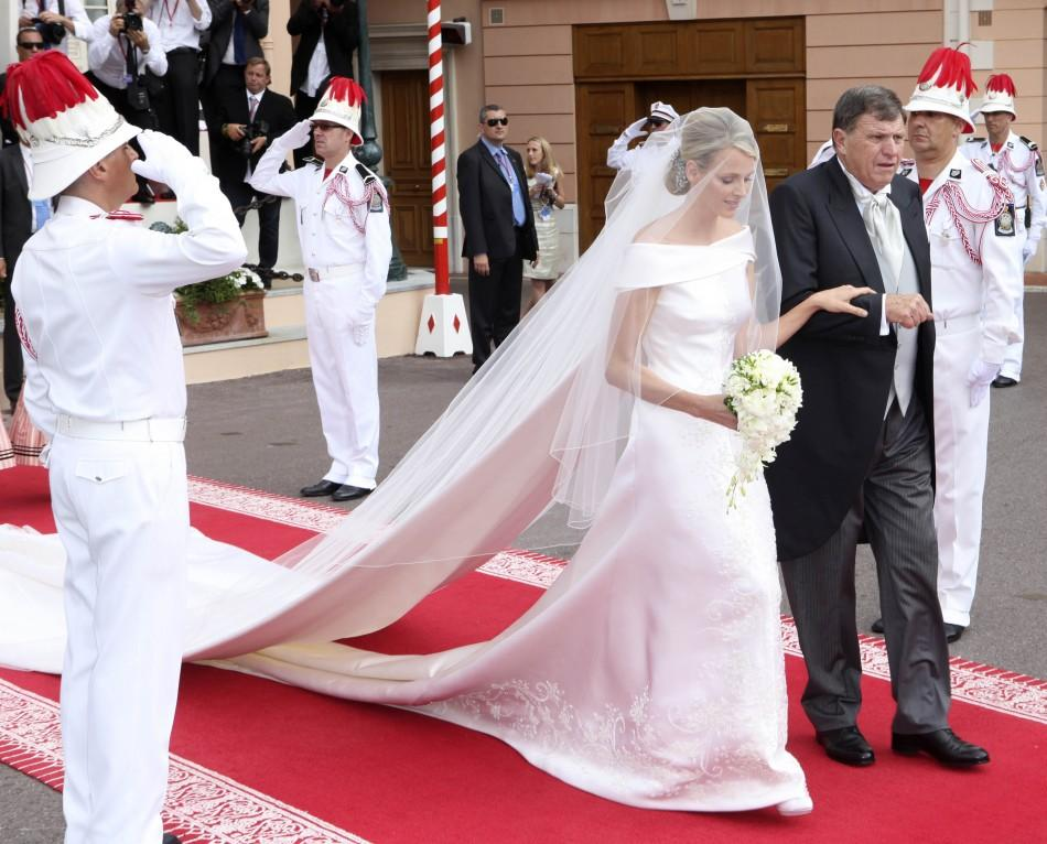 Michael Kenneth Wittstock escorts his daughter Princess Charlene