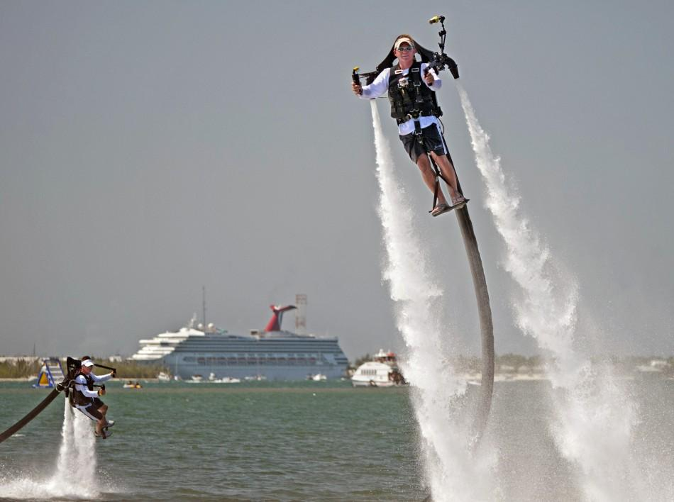 Oosting and Tuxbury go airborne with jetpacks providing human flight experiences in Key West