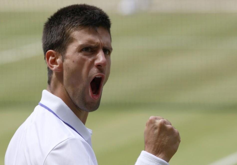 Novak Djokovic of Serbia reacts during his men's singles final match against Rafael Nadal of Spain at the Wimbledon tennis championships in London.