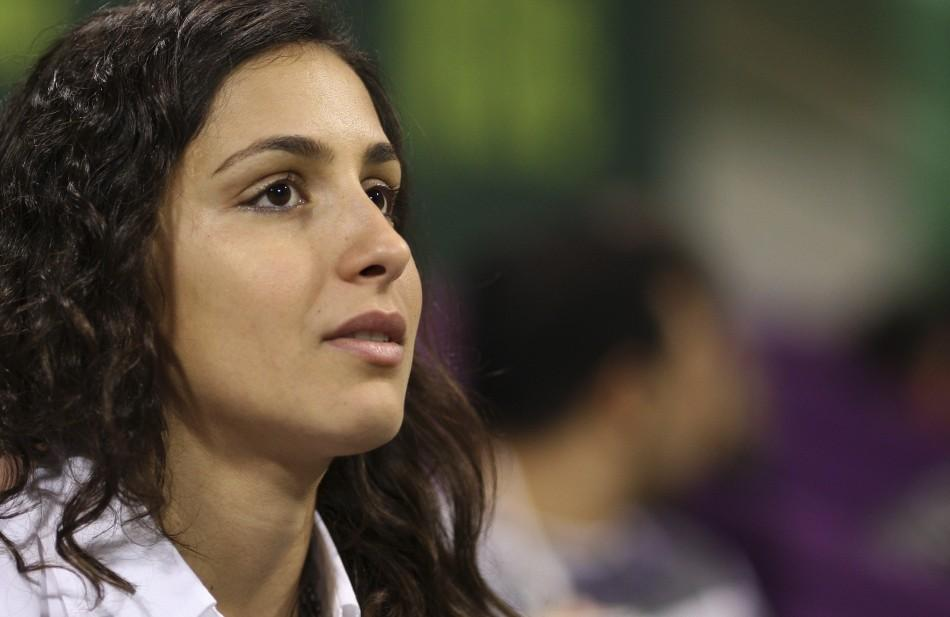 Girlfriend of Nadal, Maria Perello, watches match between Nadal and Davydenko during final match in Doha