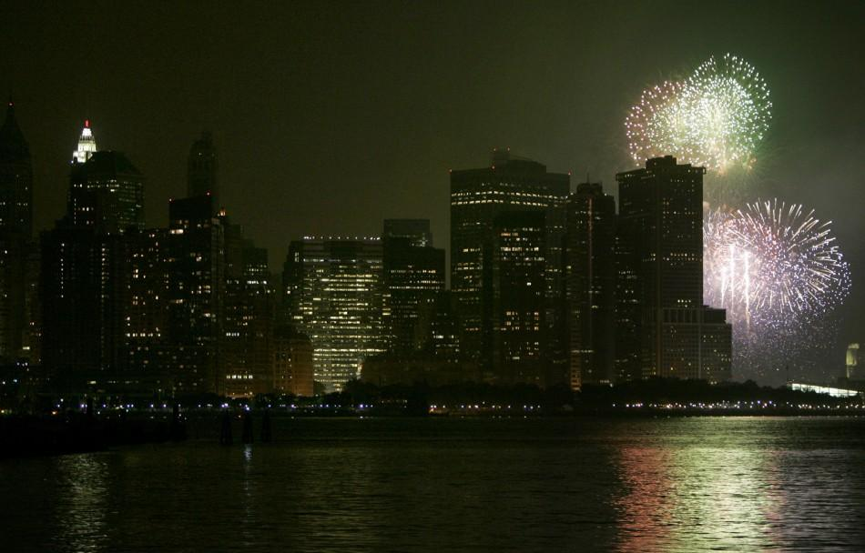 Fireworks light up Manhattan during Independence Day celebrations in New York from Jersey City in New Jersey