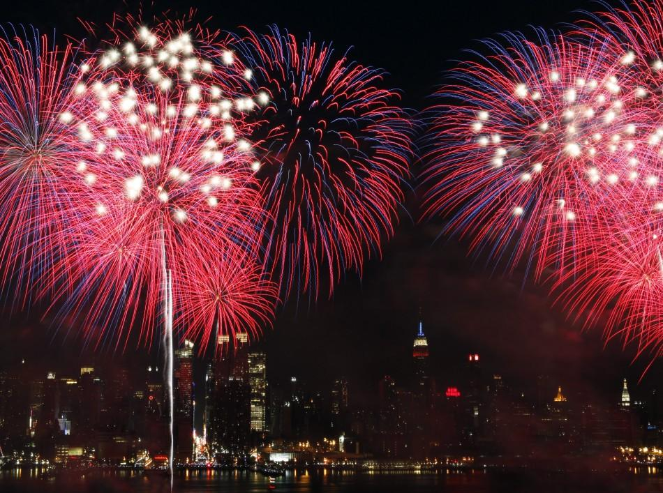 Fireworks explode over the New York City skyline as part of the Independence Day celebration in New York