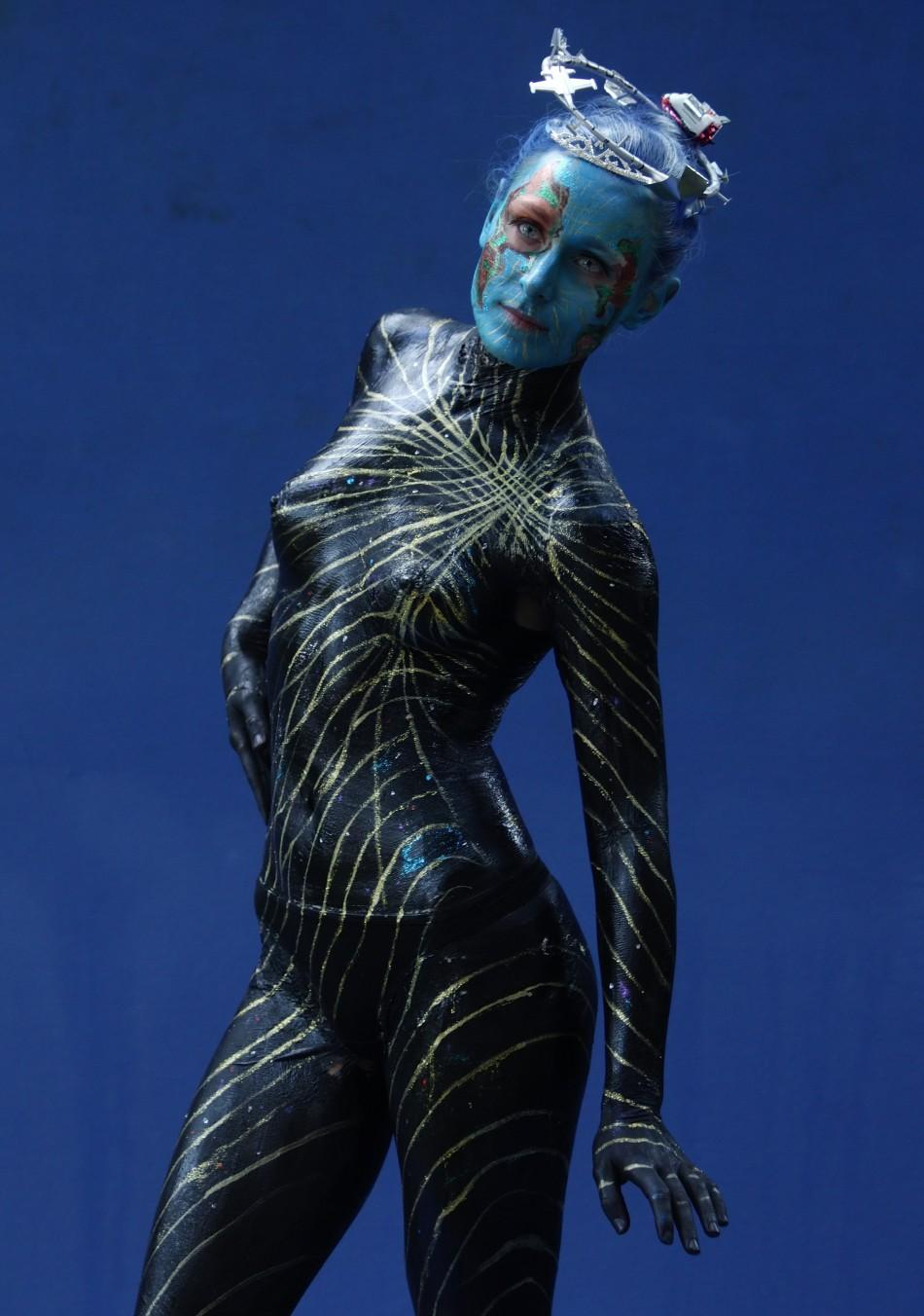 A models poses during the annual World Bodypainting Festival in Poertschach