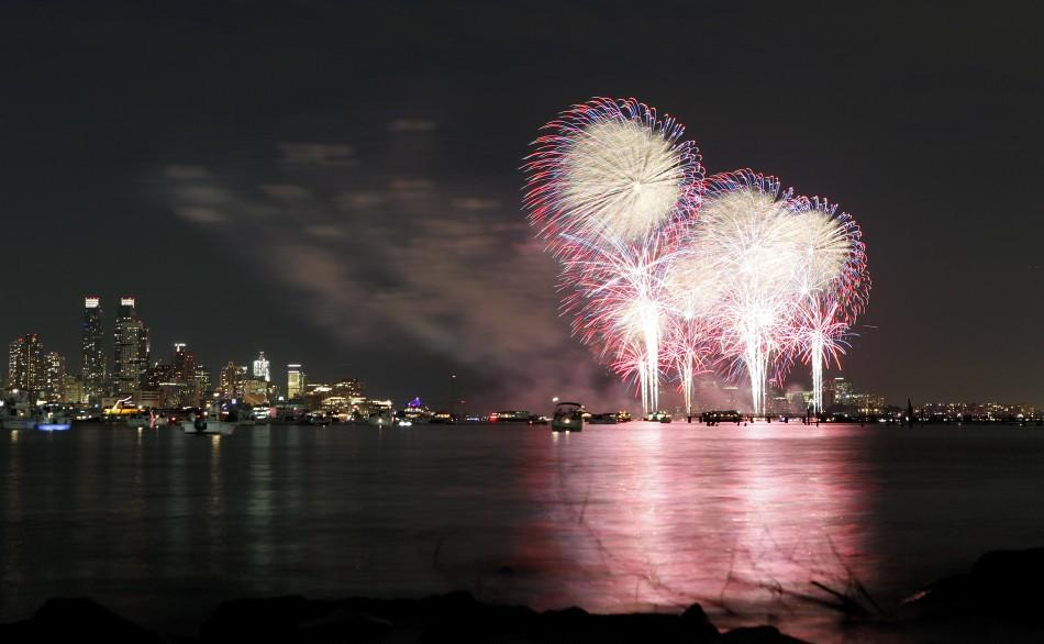 Fireworks explode over the Hudson River and the skyline of New York during the Macy's Independence Day celebration as seen from North Bergen, New Jersey
