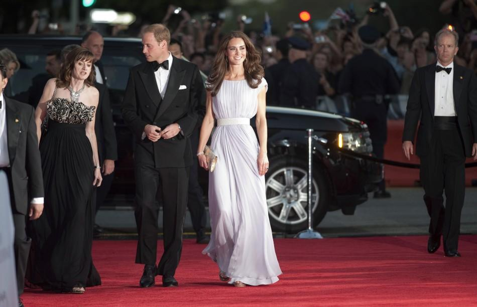 BAFTA Chief Executive Amanda Berry (L), Britain's Prince William and his wife Catherine