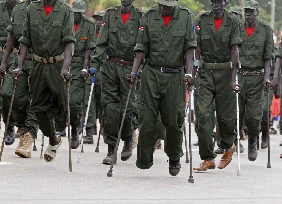 Wounded Sudan People's Liberation Army (SPLA) veterans' march