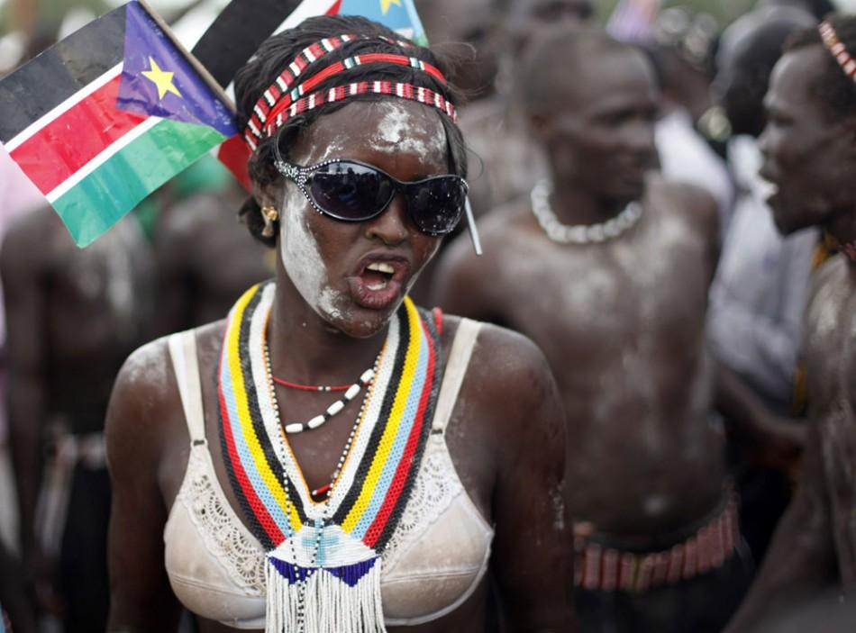 A tribeswoman takes part in Independence Day celebrations in Juba