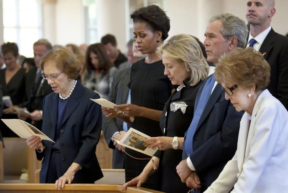 Visitor attend the funeral of former first lady Betty Ford at St. Margaret's Episcopal Church in Palm Desert
