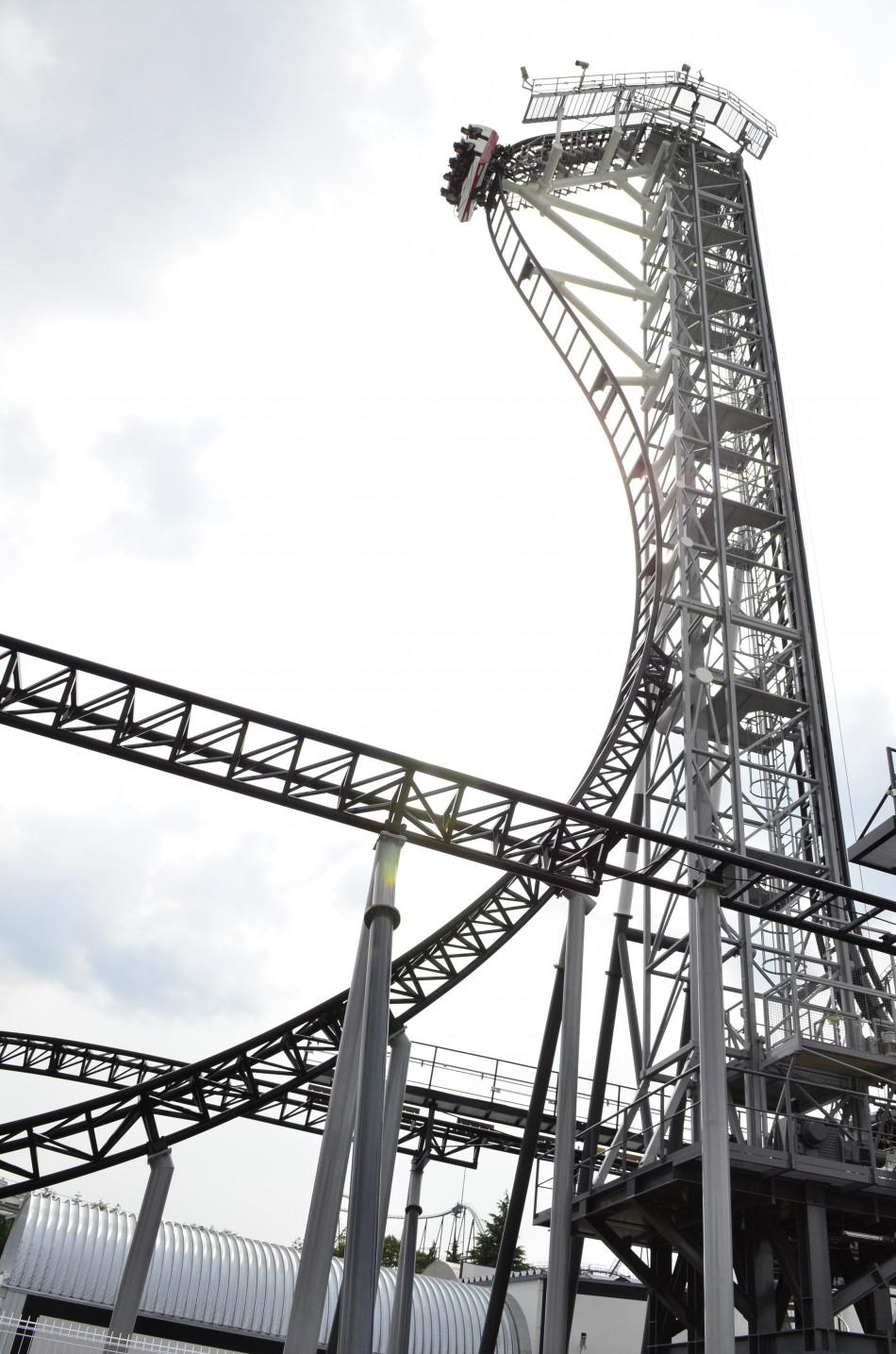 "Handout picture of the world steepest roller coaster ""Takabisha"" with a free falling angle of 121 degrees seen at Fuji-Q Highland amusement park in Fujiyoshida"