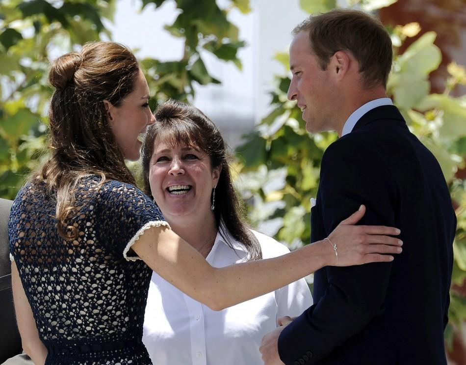 Prince William, Duke of Cambridge, and Catherine, Duchess of Cambridge, say farewell to Danielle Alexandra, Board of Trustee Centrepoint, after visiting Inner City Arts in Los Angeles