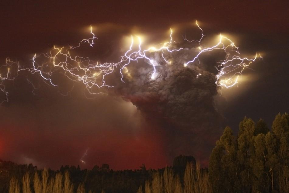 Lightning flashes around the ash plume at above the Puyehue-Cordon Caulle volcano chain