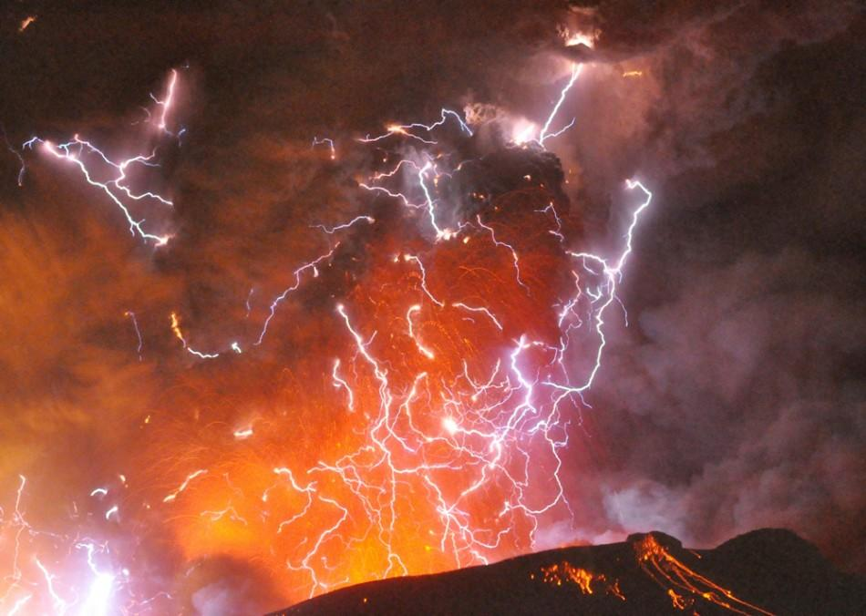 Volcanic lightning or a dirty thunderstorm
