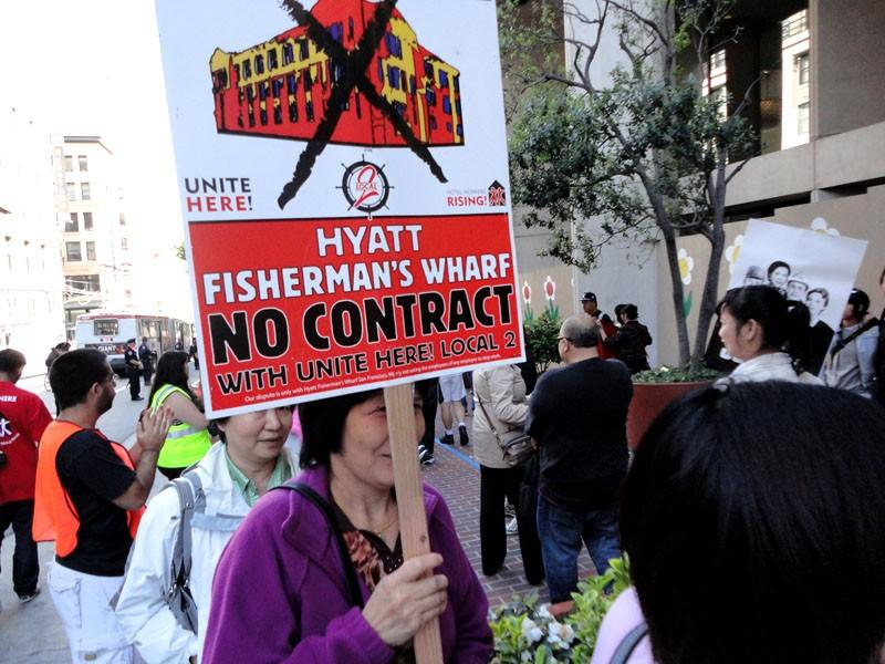 Hyatt workers protest outside Grand Hyatt Hotel in San Francisco, California, July 21, 2011