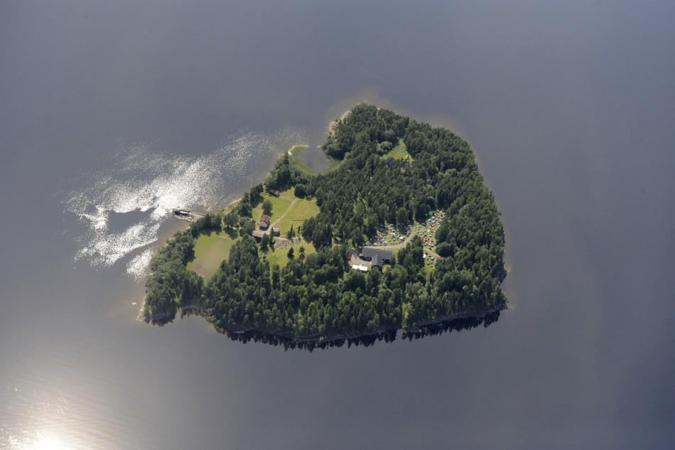 An aerial view shows Utoeya island