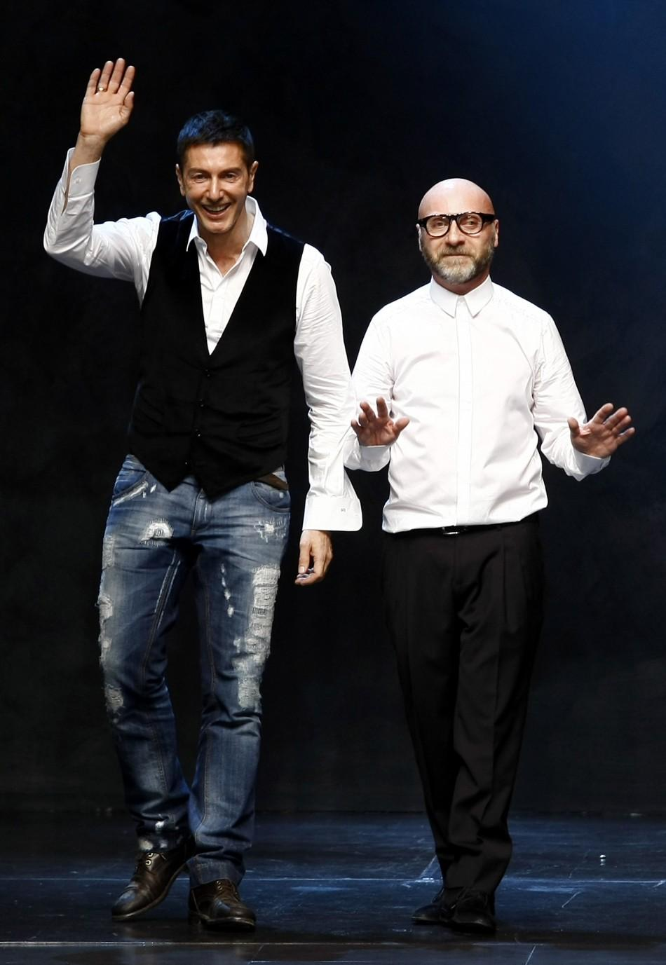 Designers Dolce and Gabbana at Milan Fashion Week