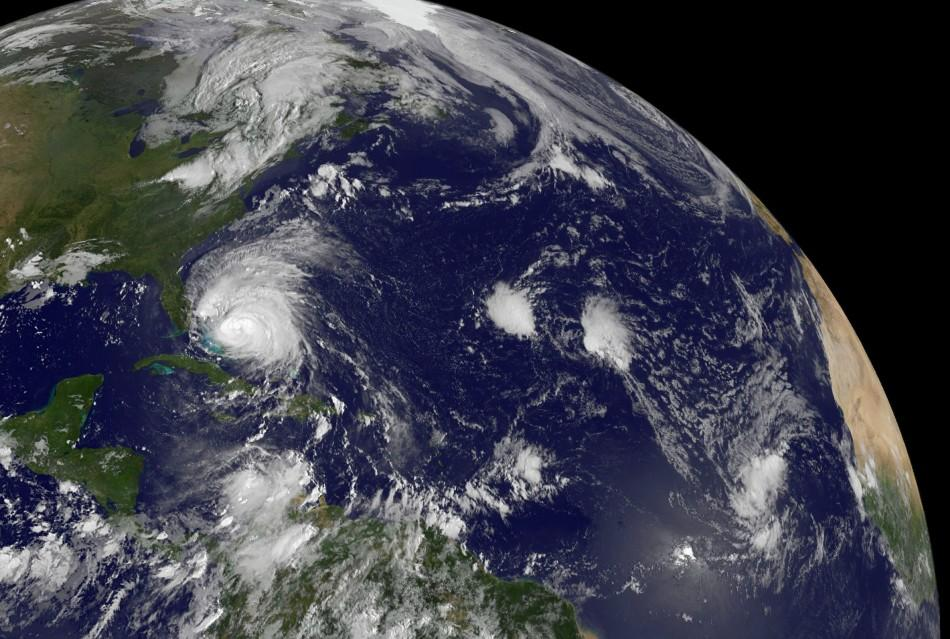 NASA handout satellite image of Hurricane Irene and Tropical Depression 10