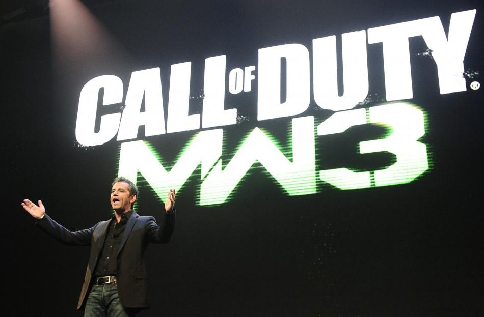 """Activision Publishing CEO Eric Hirshberg speaks during the premiere of the video game """"Call of Duty: Modern Warfare 3"""" in Los Angeles, California"""