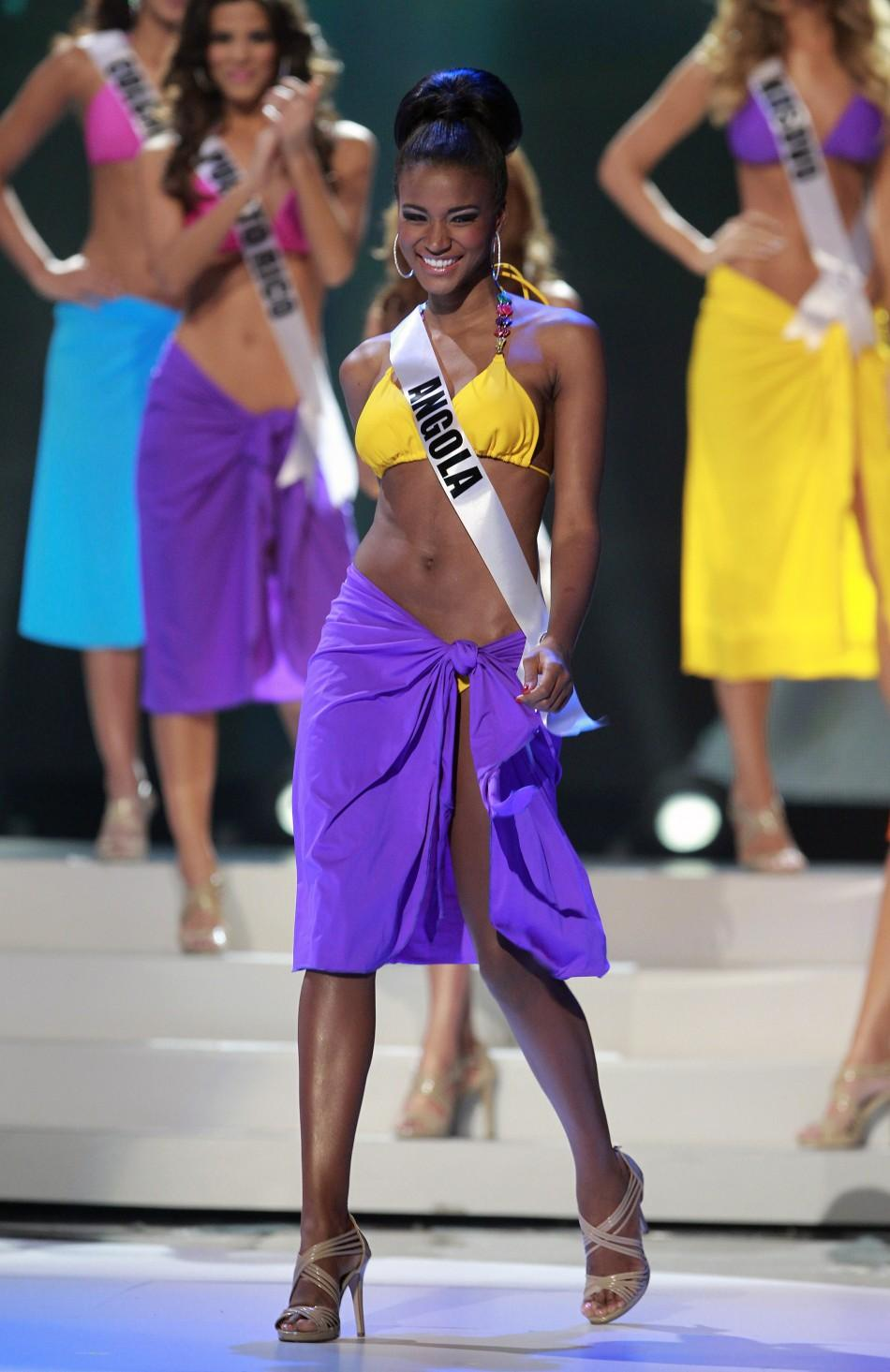 Miss Angola Leila Lopes steps forward after being chosen among the final ten contestants of the Miss Universe 2011 pageant in Sao Paulo