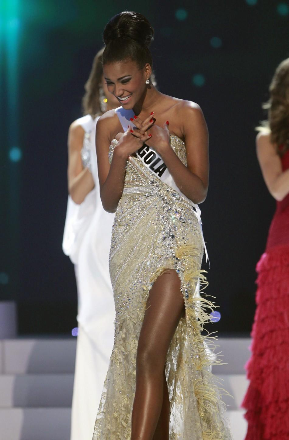 Miss Angola Leila Lopes steps forward after being chosen among the final five contestants of the Miss Universe 2011 page...
