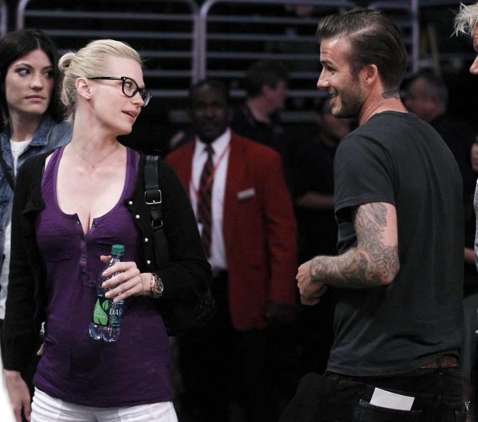 January Jones at Lakers Game