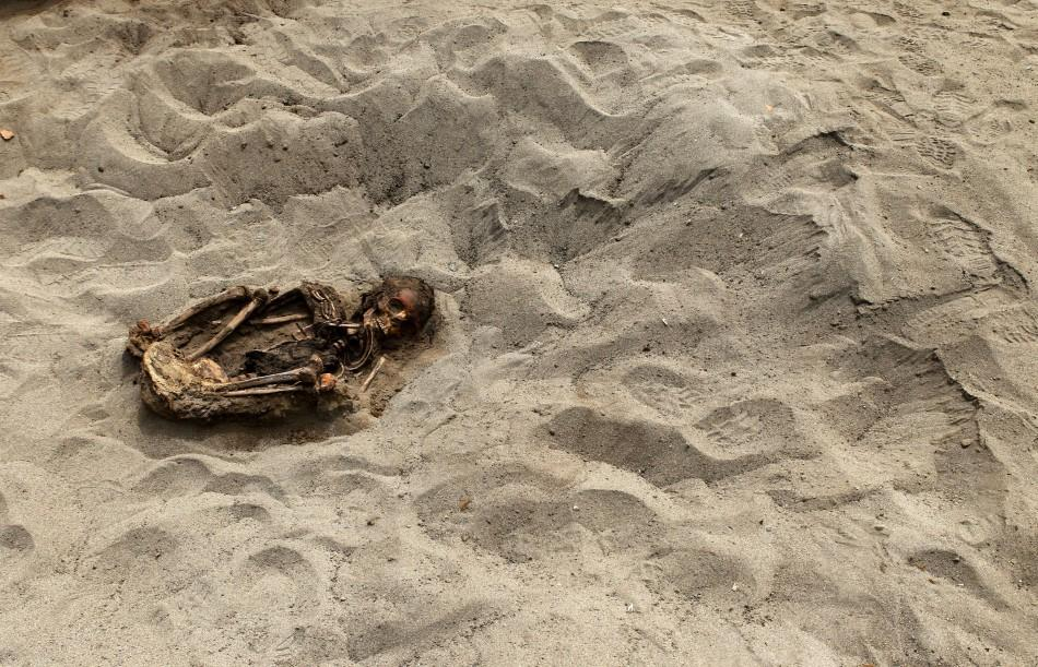 The remains of a child is seen, part of the 42 children and 74 camelids remains unearthed that were sacrificed approximately 800 years ago in the fishing town of Huanchaquito, Trujillo