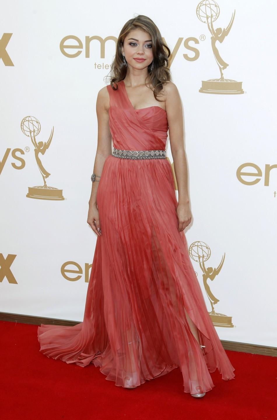 "Actress Sarah Hyland from ""Modern Family"" poses as she arrives at the 63rd Primetime Emmy Awards in Los Angeles September 18, 2011."