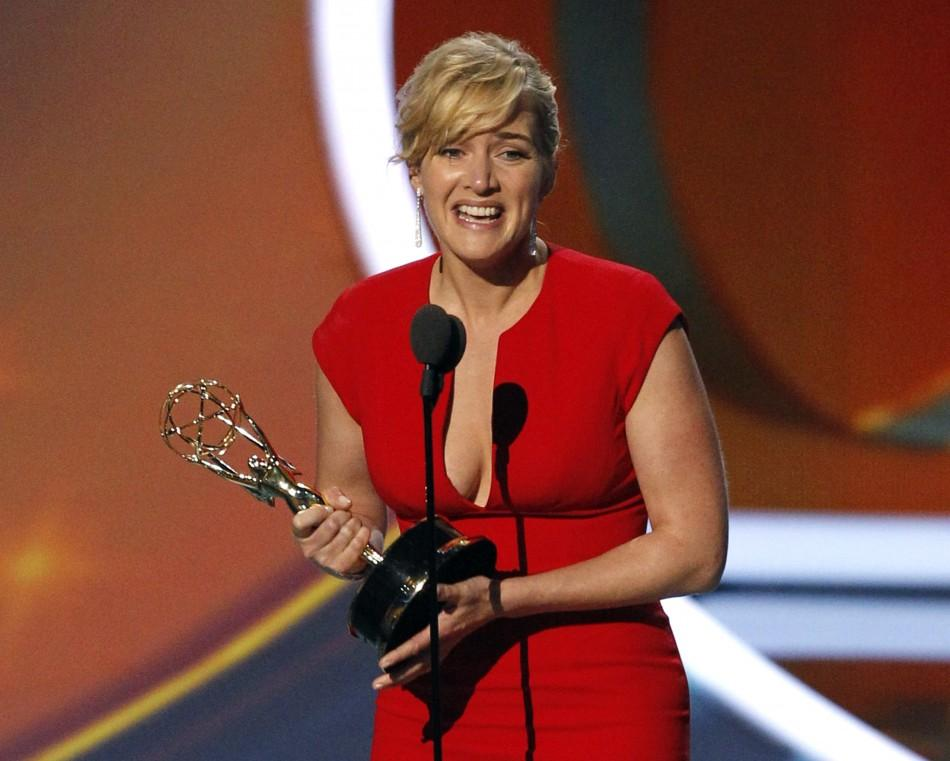 "Kate Winslet accepts the award for outstanding lead actress in a miniseries or movie for ""Mildred Pierce"" at the 63rd Primetime Emmy Awards in Los Angeles"