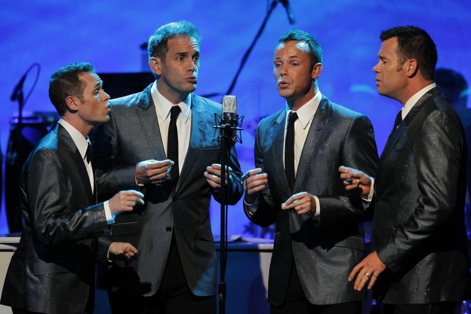 "Members of Australian pop vocal group ""Human Nature' perform at the Society of Singers annual dinner in Beverly Hills, California"