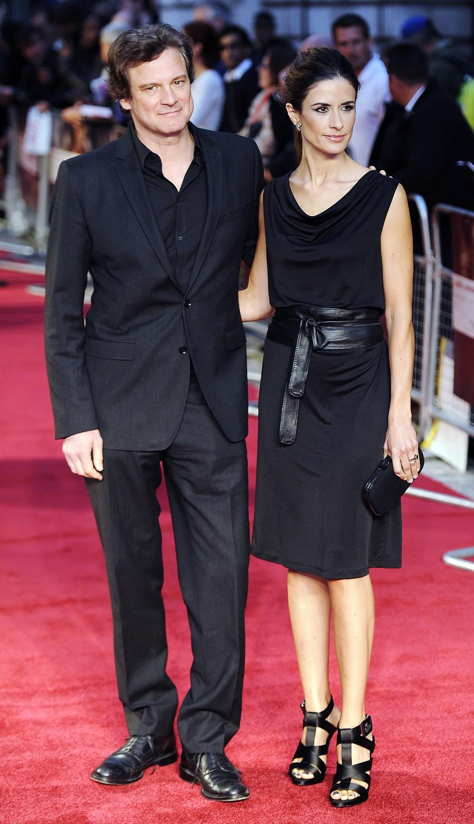 "Colin Firth and Livia Guiggiani attend the UK premiere of ""The Debt"" in London"