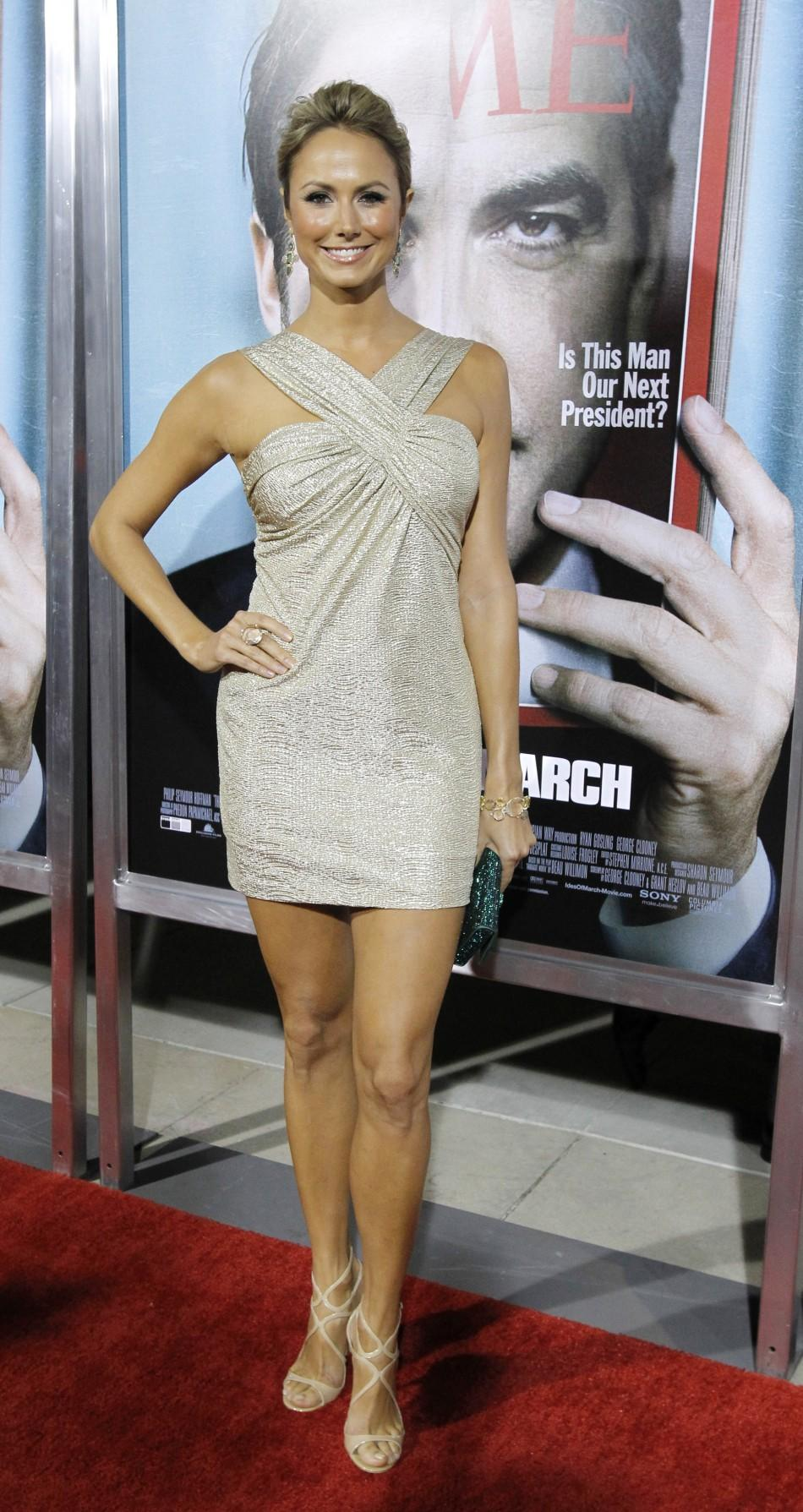 "Actress Stacy Keibler poses at the premiere of ""The Ides of March"" at the Samuel Goldwyn theatre in Beverly Hills, California"