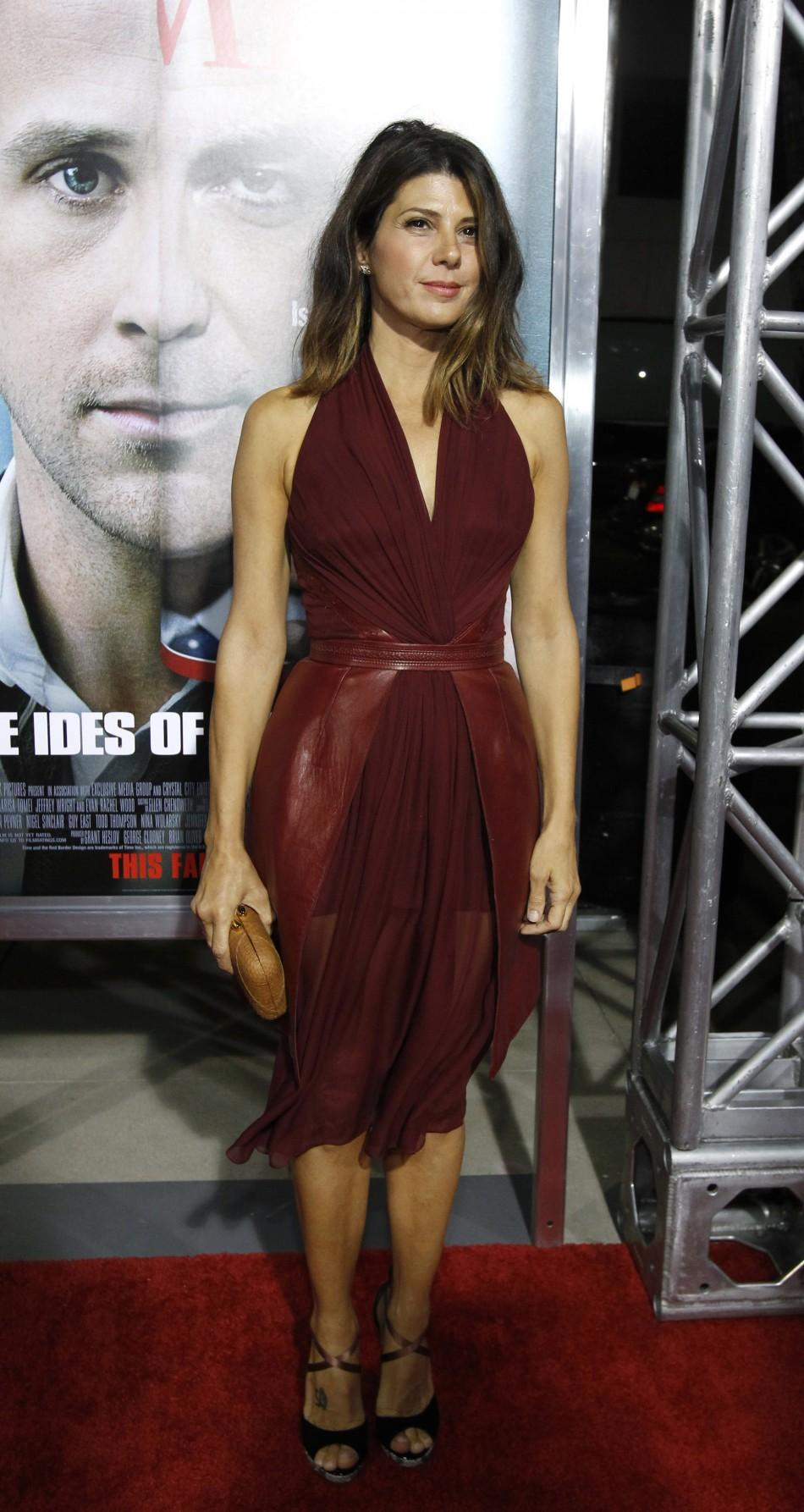 "Cast member Marisa Tomei poses at the premiere of ""The Ides of March"" at the Samuel Goldwyn theatre in Beverly Hills, California"