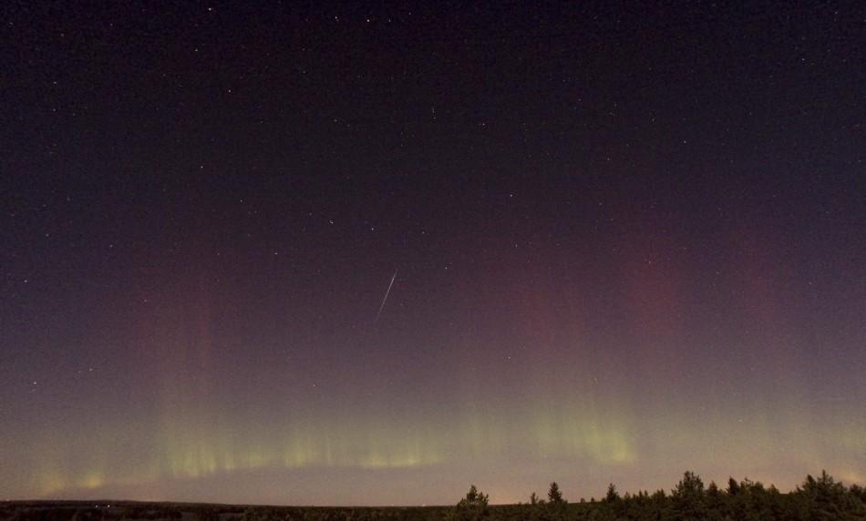 A view of a shooting star (Draconid) and northern lights near Skekarsbo at the Farnebofjardens national park, 150 km (93 miles) north of Stockholm October 8, 2011.
