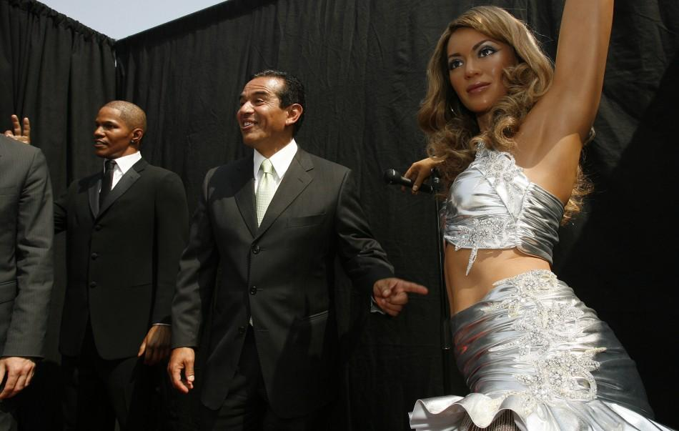 Wax figures of actor Jamie Foxx and performer Beyonce Knowles