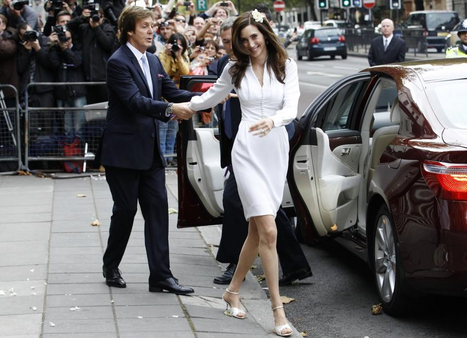 Singer Paul McCartney And His Bride Nancy Shevell Leave After Their Marriage Ceremony At Old Marylebone